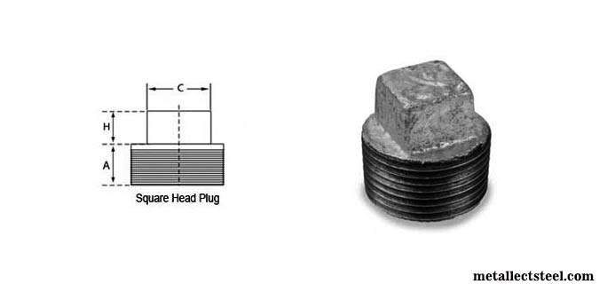 Stainless Steel Screwed Square Plug Dimensions